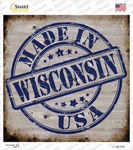 Wisconsin Stamp On Wood Wholesale Novelty Square Sticker Decal