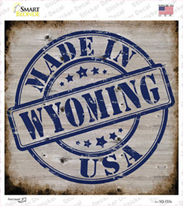 Wyoming Stamp On Wood Wholesale Novelty Square Sticker Decal