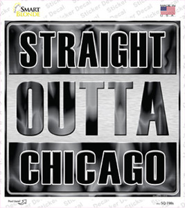 Straight Outta Chicago Gray Wholesale Novelty Square Sticker Decal