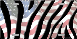 American Flag Zebra Print Wholesale Metal Novelty License Plate LP-1463