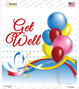 Get Well Wholesale Novelty Square Sticker Decal