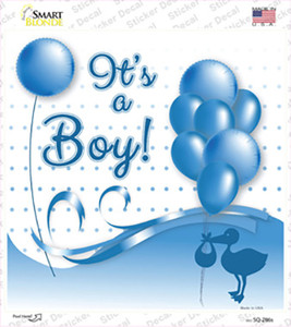 Its A Boy With Balloons Wholesale Novelty Square Sticker Decal