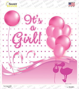 Its A Girl With Balloons Wholesale Novelty Square Sticker Decal