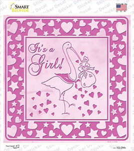 Its A Girl With Stork Wholesale Novelty Square Sticker Decal