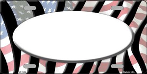 American Flag Zebra Print White Center Oval Wholesale Metal Novelty License Plate LP-1464