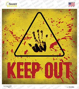 Keep Out Triangle With Handprint and Blood Wholesale Novelty Square Sticker Decal