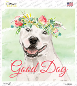 White Staffordshire Terrier Good Dog Wholesale Novelty Square Sticker Decal