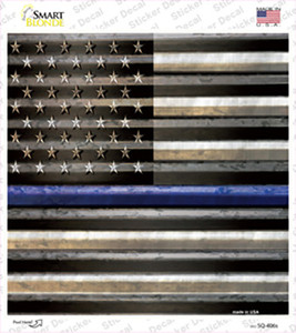 American Flag Thin Blue Line Wholesale Novelty Square Sticker Decal