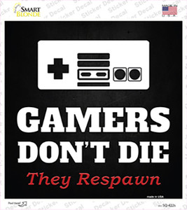 NES Gamers Dont Die Wholesale Novelty Square Sticker Decal