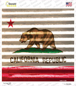 California Flag Corrugated Effect Wholesale Novelty Square Sticker Decal