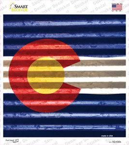 Colorado Flag Corrugated Effect Wholesale Novelty Square Sticker Decal