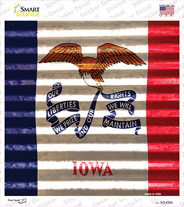 Iowa Flag Corrugated Effect Wholesale Novelty Square Sticker Decal