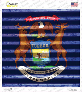 Michigan Flag Corrugated Effect Wholesale Novelty Square Sticker Decal