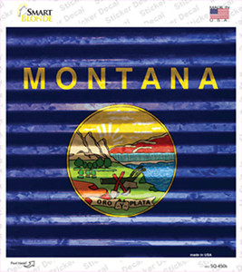 Montana Flag Corrugated Effect Wholesale Novelty Square Sticker Decal