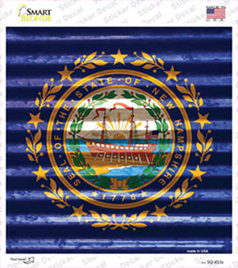 New Hampshire Flag Corrugated Effect Wholesale Novelty Square Sticker Decal