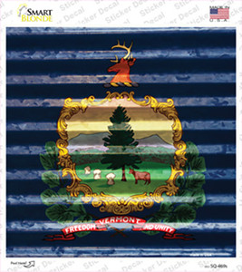 Vermont Flag Corrugated Effect Wholesale Novelty Square Sticker Decal