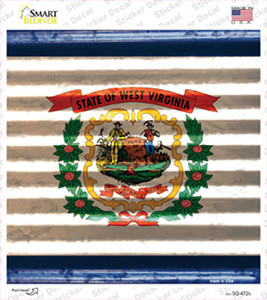West Virginia Flag Corrugated Effect Wholesale Novelty Square Sticker Decal