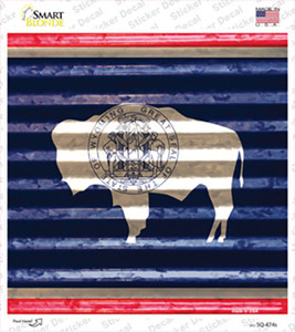 Wyoming Flag Corrugated Effect Wholesale Novelty Square Sticker Decal