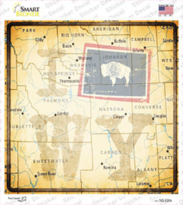 I Map WY Wholesale Novelty Square Sticker Decal
