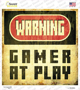 Warning Gamer at Play Wholesale Novelty Square Sticker Decal