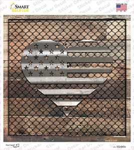 Corrugated American Flag Heart on Wood Wholesale Novelty Square Sticker Decal