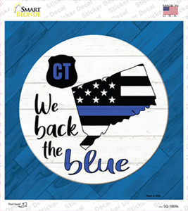 Connecticut Back The Blue Wholesale Novelty Square Sticker Decal