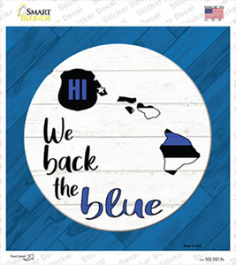 Hawaii Back The Blue Wholesale Novelty Square Sticker Decal
