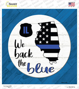 Illinois Back The Blue Wholesale Novelty Square Sticker Decal