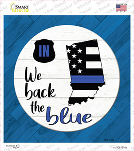 Indiana Back The Blue Wholesale Novelty Square Sticker Decal