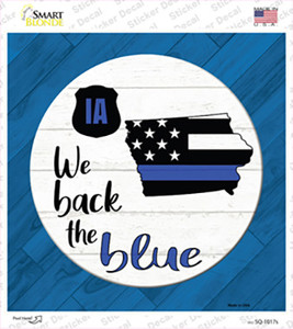 Iowa Back The Blue Wholesale Novelty Square Sticker Decal