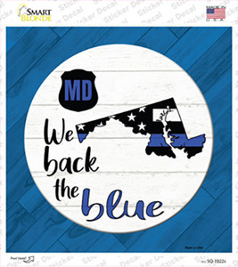 Maryland Back The Blue Wholesale Novelty Square Sticker Decal