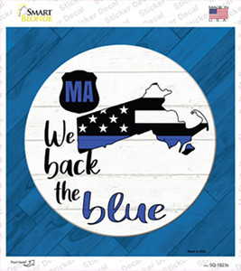 Massachusetts Back The Blue Wholesale Novelty Square Sticker Decal