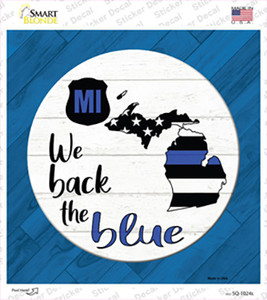 Michigan Back The Blue Wholesale Novelty Square Sticker Decal
