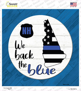 New Hampshire Back The Blue Wholesale Novelty Square Sticker Decal