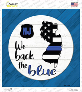 New Jersey Back The Blue Wholesale Novelty Square Sticker Decal