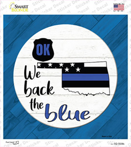 Oklahoma Back The Blue Wholesale Novelty Square Sticker Decal