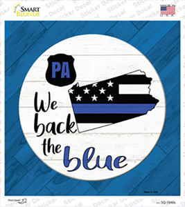 Pennsylvania Back The Blue Wholesale Novelty Square Sticker Decal