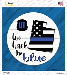 Utah Back The Blue Wholesale Novelty Square Sticker Decal