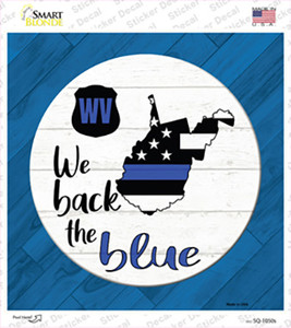West Virginia Back The Blue Wholesale Novelty Square Sticker Decal