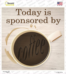 Sponsored By Coffee Wholesale Novelty Square Sticker Decal