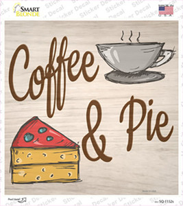 Coffee and Pie Wholesale Novelty Square Sticker Decal