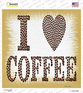 I Love Coffee Wholesale Novelty Square Sticker Decal