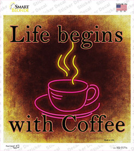 Life Begins with Coffee Wholesale Novelty Square Sticker Decal