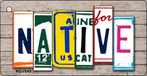 Native License Plate Art Metal Novelty Mini License Plate Key Chain