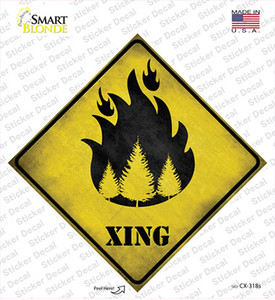 Forest Fire Xing Wholesale Novelty Diamond Sticker Decal