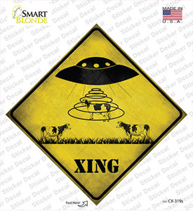 Alien Abduction Xing Wholesale Novelty Diamond Sticker Decal