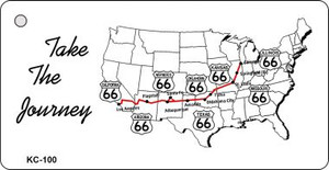 Take Journey Route 66 Mini License Plate Metal Novelty Key Chain