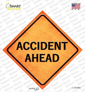 Accident Ahead Wholesale Novelty Diamond Sticker Decal