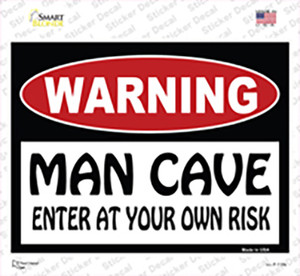 WARNING Man Cave Enter at Your Risk Wholesale Novelty Rectangle Sticker Decal