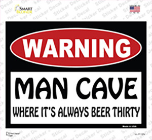 Man Cave Its Always Beer Thirty Wholesale Novelty Rectangle Sticker Decal
